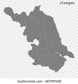 High Quality map of Jiangsu is a province of China, with borders of the divisions