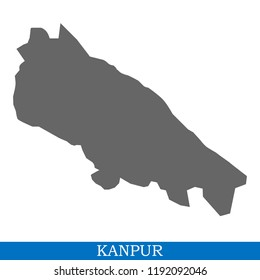 High Quality map of Kanpur is a city of India, with borders of districts