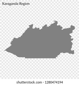 High Quality map of Karaganda Region of Kazakhstan, with borders of districts