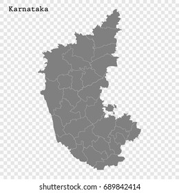 High Quality map of Karnataka is a state of India, with borders of the districts.