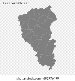 High Quality map of Kemerovo Oblast is a region of Russia with borders of the districts