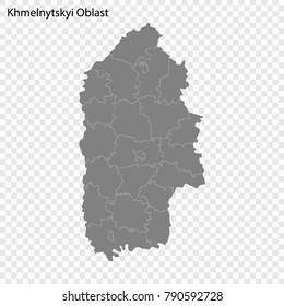 High Quality map of Khmelnytskyi Oblast is a province of Ukraine, with borders of the regions