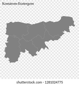 High Quality map of Komarom-Esztergom County of Hungary, with borders of districts