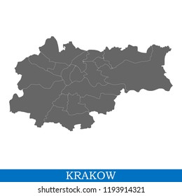 High Quality map of Krakow is a city in Poland, with borders of districts