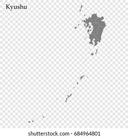 High Quality map of Kyushu is a region of Japan, with borders of the prefectures