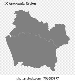 High Quality map of La Araucania is a region of Chile with borders of the provinces