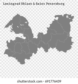 High Quality map of Leningrad Oblast and Saint Petersburg is a region of Russia with borders of the districts