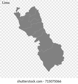 High Quality map of Lima is a province of Peru, with borders of the provinces