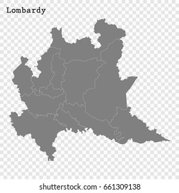 High Quality map of Lombardy is a region of Italy, with borders of the provinces