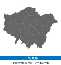High Quality map of London is a city in United Kingdom, with borders of districts