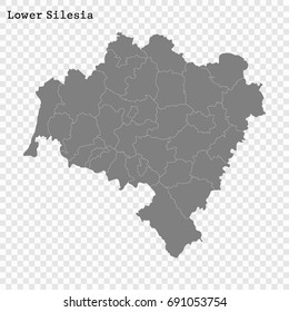 High Quality map of Lower Silesia is a Voivodeship of Poland with borders of the powiats