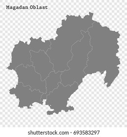 High Quality map of Magadan Oblast is a region of Russia with borders of the districts