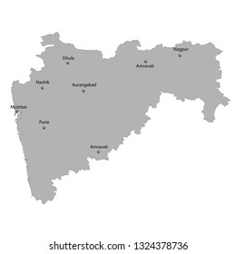 High Quality map of Maharashtra is a state of India. With main cities location