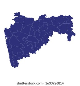 High Quality map of Maharashtra is a state of India, with borders of the divisions