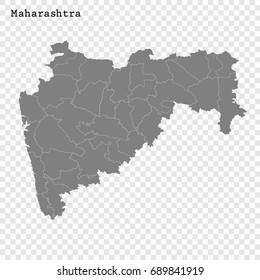 High Quality map of Maharashtra is a state of India, with borders of the districts