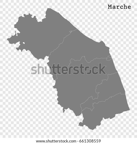 Marche Region Italy Map.High Quality Map Marches Region Italy Stock Vector Royalty Free