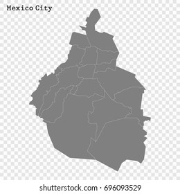 High Quality map of Mexico City is a state of Mexico, with borders of the municipalities
