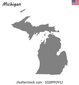 High Quality map of Michigan is a state of United States