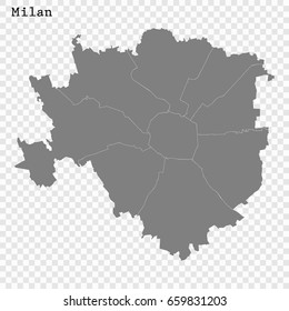 High Quality map of Milan is a city of Italy, with borders of the districts