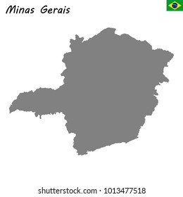 High Quality map of Minas Gerais is a state of Brazil