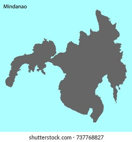High quality map of Mindanao is the island