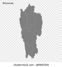 High Quality map of Mizoram is a state of India, with borders of the districts