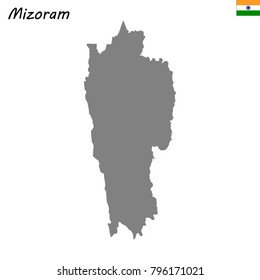 High Quality map of Mizoram is a state of India