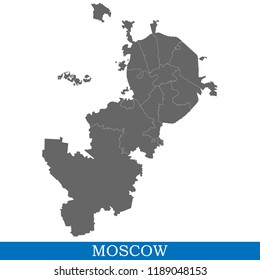 High Quality map of Moscow is a city of Russia, with borders of districts