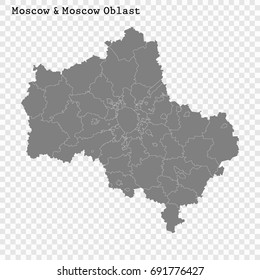 High Quality map of Moscow Oblast and Moscow is a region of Russia with borders of the districts
