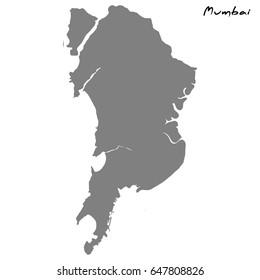 High quality map of Mumbai.