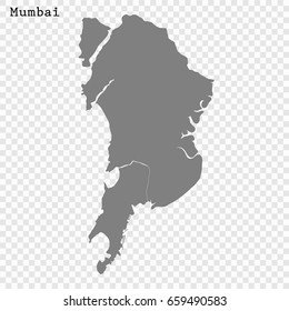 High Quality map of Mumbai is a city of India, with borders of the regions.