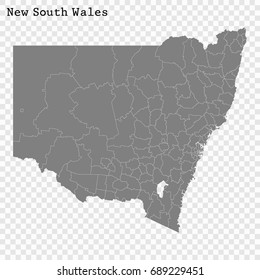 High Quality map of New South Wales is a state of Australia, with borders of the Local government areas