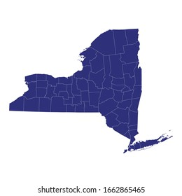 High Quality map of New York is a state of United States of America with borders of the counties