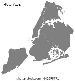 High Quality map of New York city, with borders of the regions.