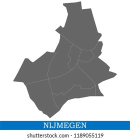 High Quality map of Nijmegen is a city of Netherlands, with borders of the districts