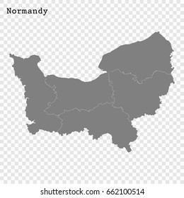 High Quality map of Normandy is a region of France, with borders of the departments