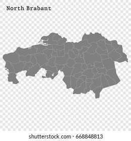 High Quality map of North Brabant is a province of Netherlands, with borders of the Municipalities