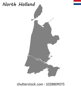 High Quality map of North Holland is a province of Netherlands