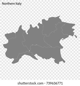 High Quality map of Northern Italy is a region of Italy, with borders of the provinces