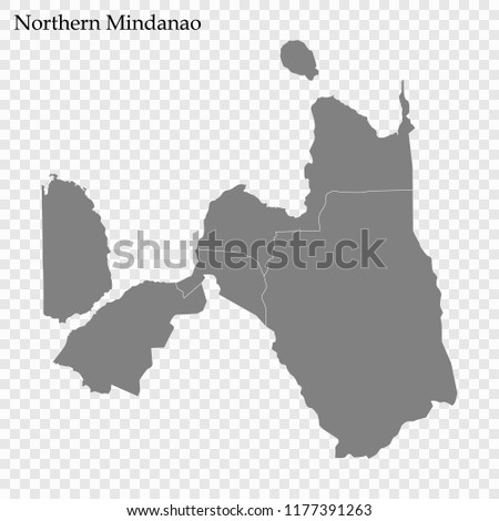 High Quality Map Northern Mindanao Region Stock Vector Royalty Free