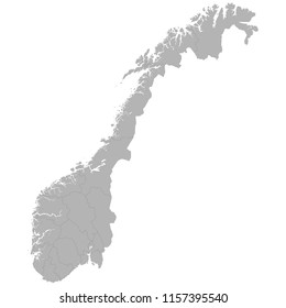 High quality map of Norway with borders of the regions on white background