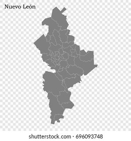 High Quality map of Nuevo León is a state of Mexico, with borders of the municipalities