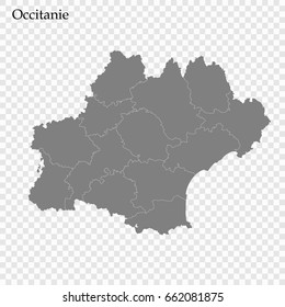 High Quality map of Occitanie is a region of France, with borders of the departments