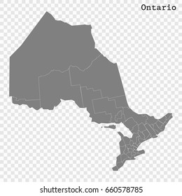 High Quality map of Ontario is a province of Canada, with borders of the counties