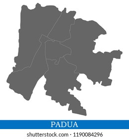 High Quality map of Padua is a city of Italy, with borders of districts