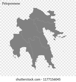 High Quality map of Peloponnese is a region of Greece, with borders of the regional units