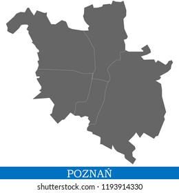 High Quality map of Poznan is a city in Poland, with borders of districts