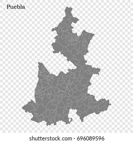High Quality map of Puebla is a state of Mexico, with borders of the municipalities