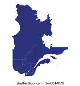 High Quality map of Quebec is a province of Canada, with borders of the counties