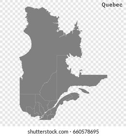 High Quality map of Quebec is a province of Canada, with borders of the counties.